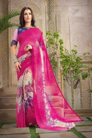 Impressive Magenta Chiffon Printed Saree with Blouse