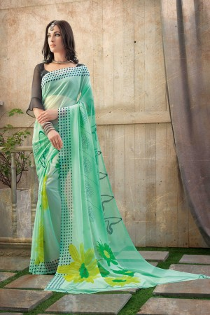 Stylish Green Chiffon Printed Saree with Blouse