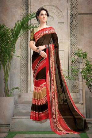 Fab Multi Color Chiffon Printed Saree with Blouse