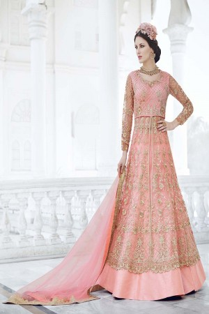 Immaculate Pink Net Heavy Embroidery Kali Work with Diamond AnarkaliSuit