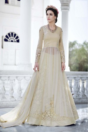 Blooming OffWhite Net&Georgette Heavy Embroidery Kali Work with Diamond AnarkaliSuit