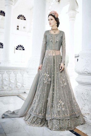 Affluent Grey Net Heavy Embroidery Kali Work with Diamond AnarkaliSuit