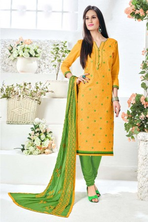 Tremendous Mustard Cotton Heavy Embroidery Top with Embroidery Dupatta  Dress material