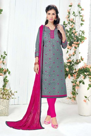 Elegant Grey Cotton Heavy Embroidery Top with Embroidery Dupatta  Dress material