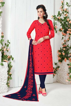 Immaculate Red Cotton Heavy Embroidery Top with Embroidery Dupatta  Dress material