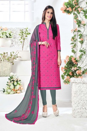 Blooming Pink Cotton Heavy Embroidery Top with Embroidery Dupatta  Dress material