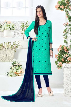 Definitive Cyan Cotton Heavy Embroidery Top with Embroidery Dupatta  Dress material