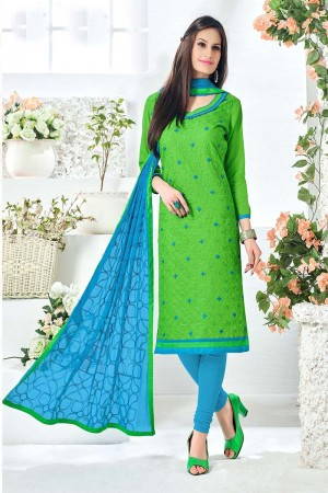 Affluent ParrotGreen Cotton Heavy Embroidery Top with Embroidery Dupatta  Dress material