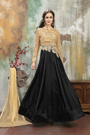 Contemporary Black TafettaSilk Heavy Embroidery on Neck and Sleeve with Diamond work SemiStitch Anarkali Suit