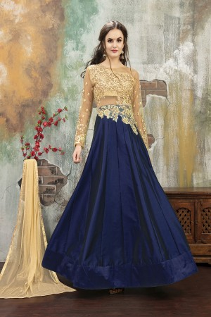 Creative Blue TafettaSilk Heavy Embroidery on Neck and Sleeve with Diamond work SemiStitch Anarkali Suit