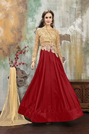 Enticing Red TafettaSilk Heavy Embroidery on Neck and Sleeve with Diamond work SemiStitch Anarkali Suit