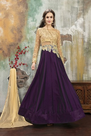 Ethereal Wine TafettaSilk Heavy Embroidery on Neck and Sleeve with Diamond work SemiStitch Anarkali Suit
