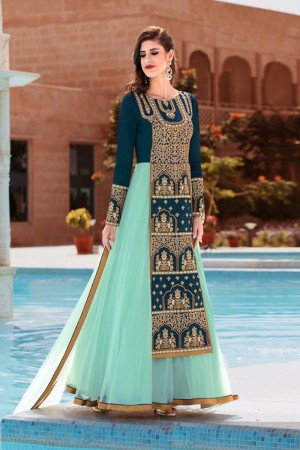 Glamorous Skyblue Banglori Silk&Soft Net Heavy Embroidey Zari work with Diamond Anarkali Suit