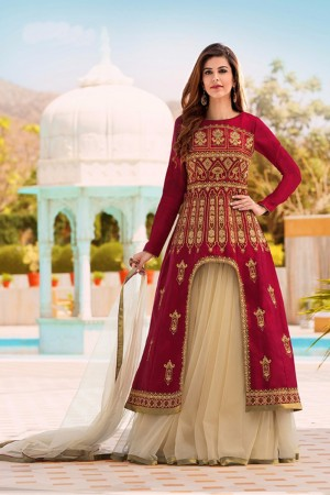 Amiable Maroon Banglori Silk Heavy Embroidey Zari work with Diamond Anarkali Suit