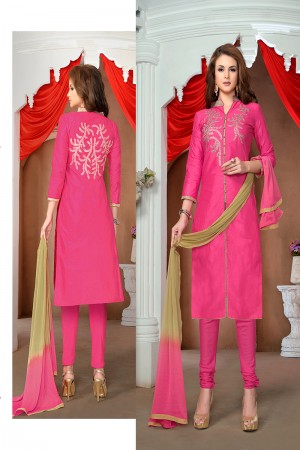 Definitive Pink Cotton Heavy Embroidery Top with Lace Border Dress Material