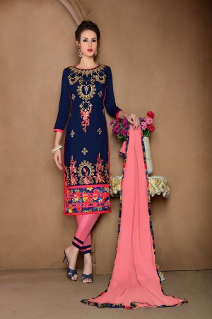 Enigmatic Blue Cotton Heavy Embroidery Top with Lace Border Dress Material