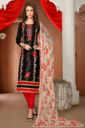 Affluent Black Cotton Heavy Embroidery Top with Lace Border Dress Material