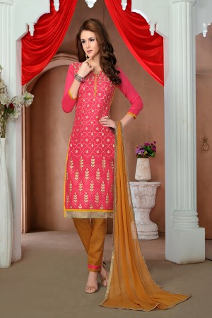 Enticing Pink Cotton Heavy Embroidery Top with Lace Border Dress Material