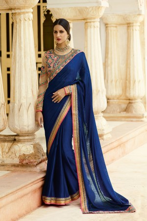 Beguiling Navy Blue Jacquard Heavy Embroidery Resham Thread and Badala Zari Work Saree with Blouse