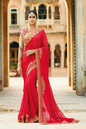 Alluring Red Silk Heavy Embroidery Resham Thread and Badala Zari Work Saree with Blouse