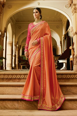 Enriching Peach Silk Heavy Embroidery Resham Thread and Badala Zari Work Saree with Blouse