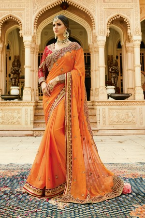Fantastic Orange Silk Heavy Embroidery Resham Thread and Badala Zari Work Saree with Blouse