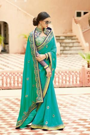 Fantastic Rama Silk Heavy Embroidery Resham Thread and Badala Zari Work Saree with Blouse