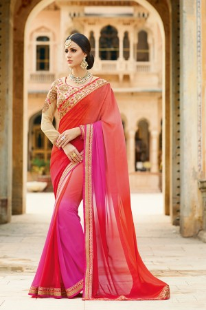 Glossy Red&Peach Georgette Heavy Embroidery Resham Thread and Badala Zari Work Saree with Blouse