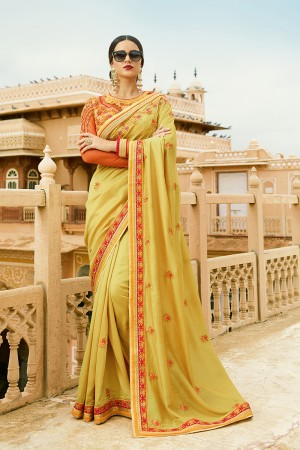 Sensuous Mustard Silk Heavy Embroidery Resham Thread and Badala Zari Work Saree with Blouse