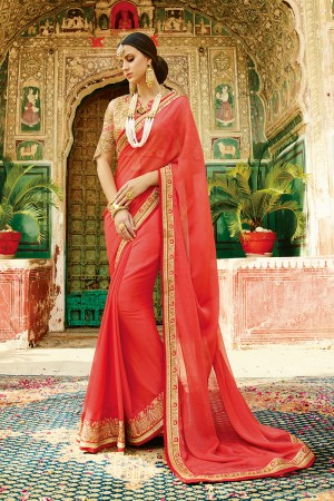 Glamorous Red Silk Heavy Embroidery Resham Thread and Badala Zari Work Saree with Blouse