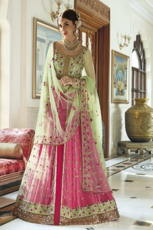 Fabulous Green Net  Heavy Embroidey Zari work with Stone Work Anarkali Suit