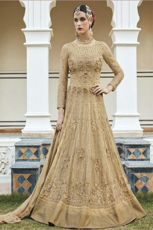 Enthralling Chiku Net  Heavy Embroidey Zari work with Stone Work Anarkali Suit