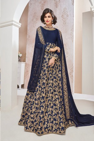 Captivating Blue Net  Heavy Embroidey Zari and Coding work with Stone Work Anarkali Suit