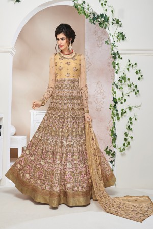 Luscious Chiku Net  Heavy Embroidey Zari and Thread work with Stone Work Anarkali Suit