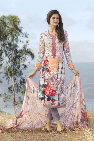 Enigmatic Multicolor Cotton Digital Print Embroidery Dress Marerial