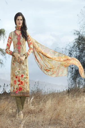 Contemporary Multicolor Cotton Digital Print Embroidery Dress Marerial
