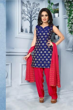 Stupendous Blue Pure Jacquard Banarasi Silk Jacquard Banarasi Silk Dress Material