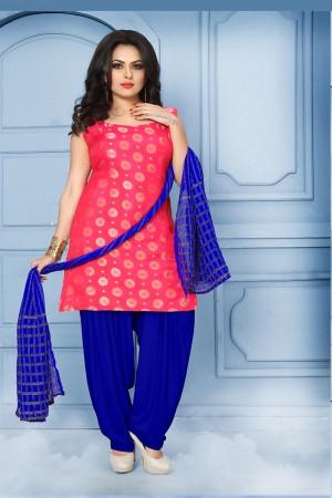 Sparkling Pink Pure Jequard Banarasi Silk Jacquard Banarasi Silk Dress Material