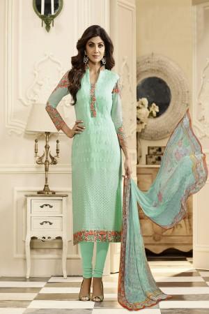 Shilpa Shetty Turquoice Blue Georgette Schiffli Embroidery Work with Printed Dupatta Semi Stitch Salwar Kameez