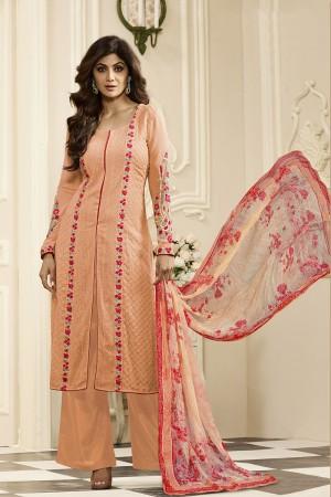 Shilpa Shetty Orange Georgette Schiffli Embroidery Work with Printed Dupatta Semi Stitch Salwar Kameez