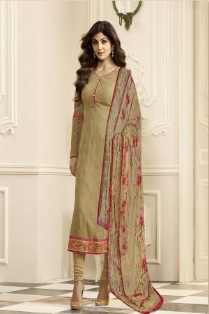Shilpa Shetty Olive Green Georgette Schiffli Embroidery Work with Printed Dupatta Semi Stitch Salwar Kameez