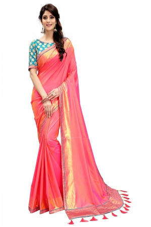 Pleasant Coral Two Tone Silk Saree with Embroidered Blouse