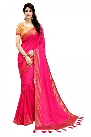 Rust Magenta Two Tone Silk Saree with Embroidered Blouse