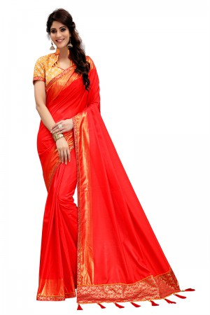 Peppy Red Two Tone Silk Saree with Embroidered Blouse