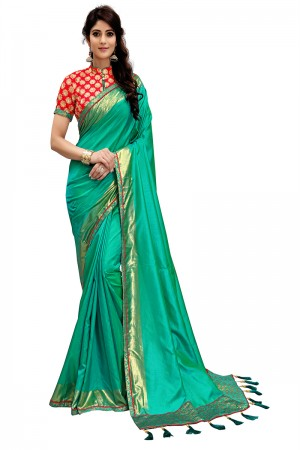 Fab Teal Two Tone Silk Saree with Embroidered Blouse