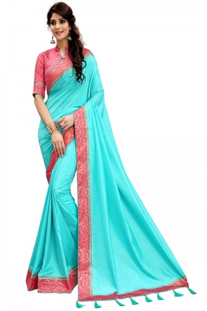 Picturesque Sky Blue Two Tone Silk Saree with Jacquard Blouse