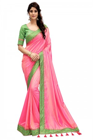 Refreshing Pink Two Tone Silk Saree with Jacquard Blouse