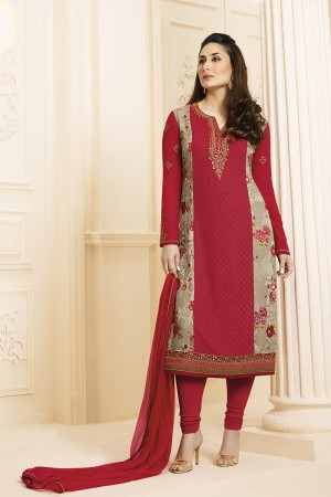 Kareena Kapoor Red Georgette Heavy Embroidery Schiffli Work  Salwar Kameez
