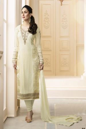 Kareena Kapoor Cream Georgette Heavy Embroidery Schiffli Work  Salwar Kameez