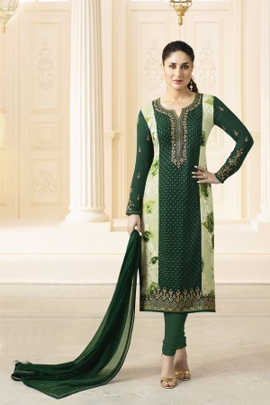 Kareena Kapoor Dark Green Georgette Heavy Embroidery Schiffli Work  Salwar Kameez